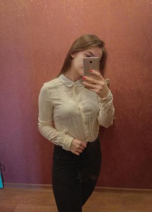 Красивая женская бежевая рубашка/блузка с белым воротником