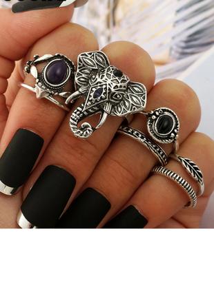 Стильные кольца на фаланги набор колец индийский слон стиль бохо этно