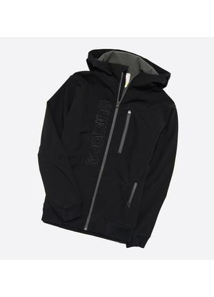 Burton s-m / оригинальная чёрная куртка софтшелл на флисе, с капюшоном