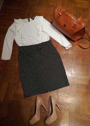 Юбка -карандаш в горошек+ блуза