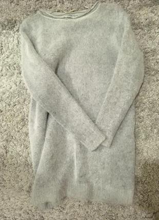 Тёплое серое пушистое платье cos ангора 10-12
