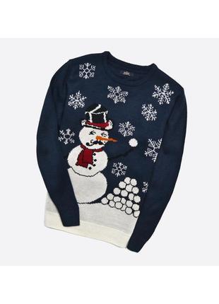 Easy s / мужской вязаный новогодний свитер с узором снеговика