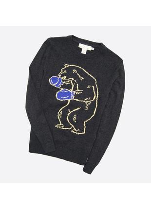 H&m s / мужской тёмно-серый вязаный свитер джемпер с узором медведя боксёра