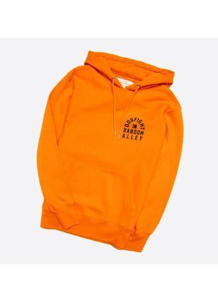H&m l / мужской плотный новый худи, оранжевый с чёрными принтами