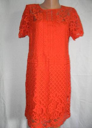 Кружевное коралловое платье