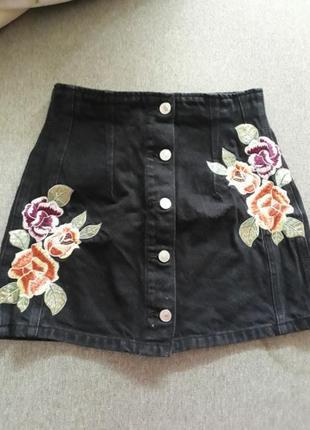 Юбка трапеция а джинсовая принт цветы