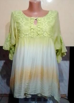Итальянская шелковая блуза, шелк на вискоз майке, кружево, салатовый градиент