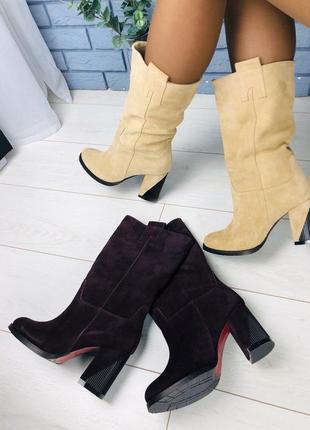 Lux обувь! натуральные зимние замшелые сапоги чулки казаки деми/зима