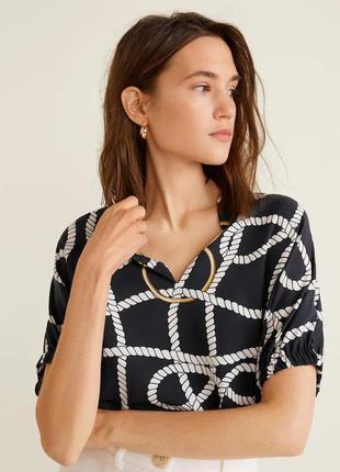 Шикарный тоа блуза в палаточный принт коллекция 2019 от mango, p. m