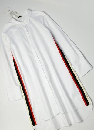 Трендовое белое удлиненное платье рубашка с лампасами zara
