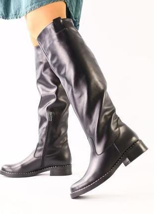 Lux обувь! идеальные классические высокие натуральные кожаные сапоги