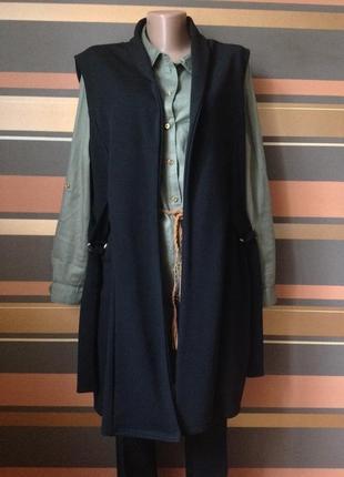 Стильный жилет кардиган с завязками по бокам с карманами размер 10