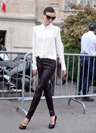Черные  узкие атласные брюки в полоску slim fit