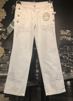 Стильные белые брендовые брюки