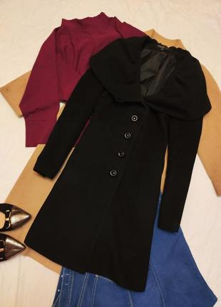 Пальто чёрное приталенное на пуговицах на подкладке с карманами kappahl
