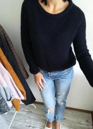Стильный темно-синий свитер оверсайз от zebra