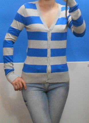 Джемпер в полоску полосатый кардиган свитшот тельняшка свитер легкий на пуговицах
