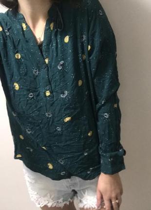 Рубашка зелёная, блузка принт одуванчик