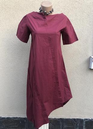 Бордовое платье,ассиметрия,этно бохо стиль,дизайнер,etna moor,хлопок,
