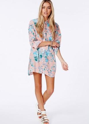 Рубашка -платье,туника,оверсайз, цветочный принт