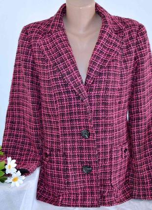 Брендовый розовый пиджак жакет блейзер с карманами wardrobe шерсть акрил