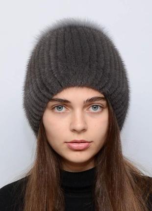 Женская зимняя вязанная норковая шапка бубон-разрез ирис