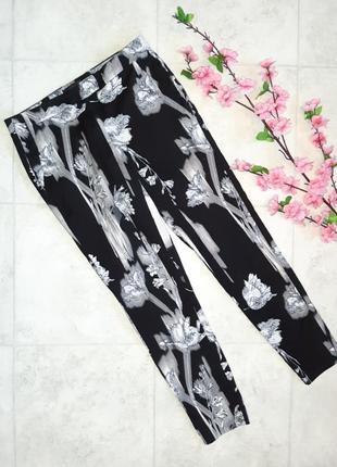 Стильные узкие зауженные брюки штаны с цветочным узором river island, размер 42 - 44