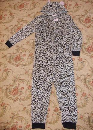 Пижама кигуруми слип человечек кошечка на 9-10 лет рост 134-140 см
