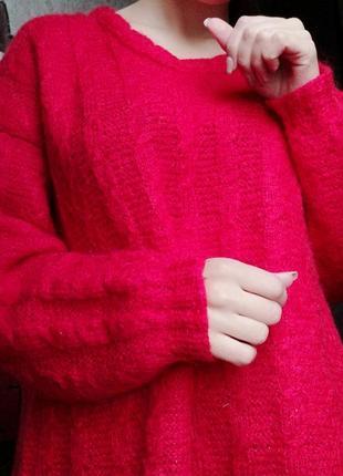 Красный свитер кофта шерстяной свитер кофта пуловер hand made