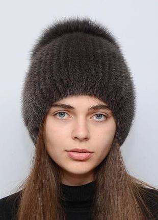 Женская зимняя вязанная норковая шапка бубон-разрез кофе