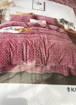 Теплое постельное белье из плюша евро размер