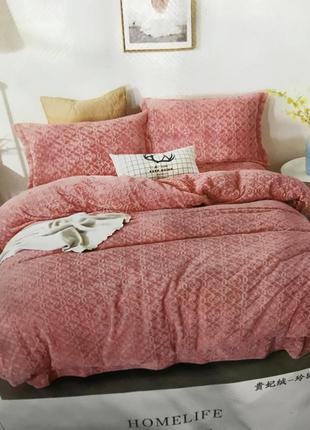 Теплое постельное белье евро размера пудровый цвет