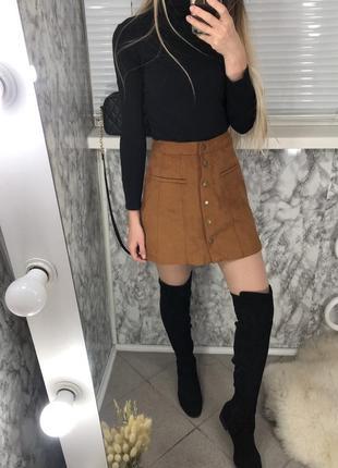 Стильная юбка zara трапеция на пуговицах под замш