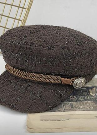 Женский картуз, кепи , фуражка из драпа коричневый
