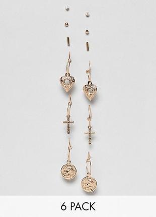 Набор сережек. золотистые серьги-подвески missguided.  сережки крестики asos