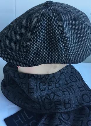 Кепка мужская восьмиклинка и шарфик в комплект