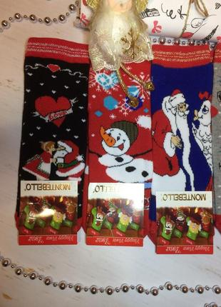 Новогодние махровые носки, набор 3 шт
