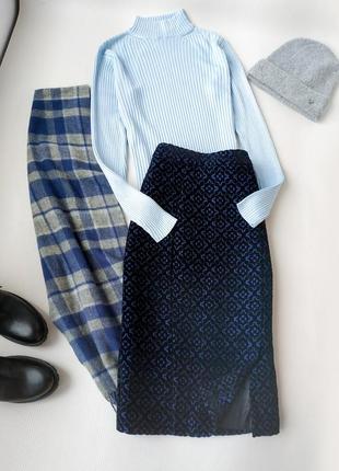Теплая юбка с бархатными узорами темно-синяя от next размер s-m