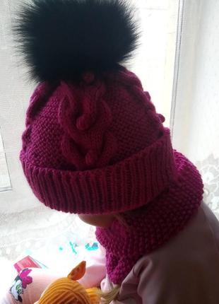 Комплект фуксия вязаная шапка +снуд из мериносовой шерсти ручная работа