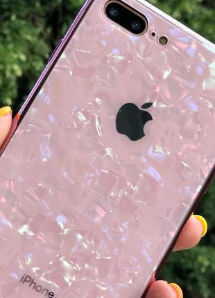 Мраморный стеклянный чехол shell glass case iphone