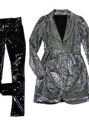 Платье-кардиган серебряное на девочку
