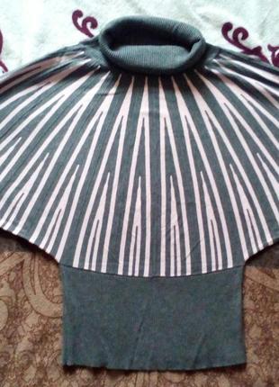 Красивый свитер летучая мышь (нежнорозовые вставки на сером фоне)