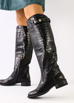 Lux обувь! красивые натуральные зимние высокие сапоги трубы