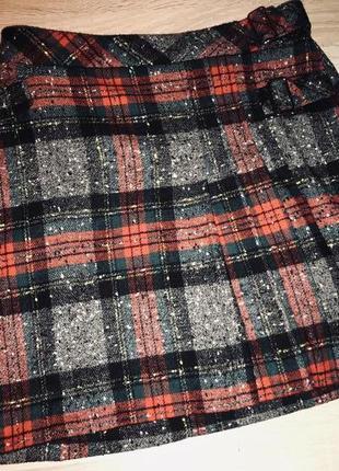 Модная тёплая юбка в клетку большого размера