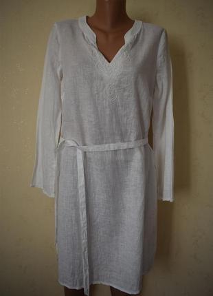 Льняное платье с вышивкой бисером monsoon