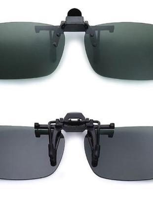 Солнцезащитные накладки-клипсы на очки для водителей зеленые