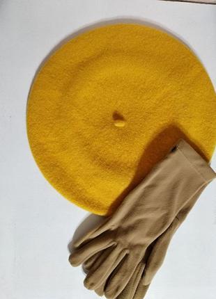 Комплект желтый чешский фетровый берет tonak и перчатки