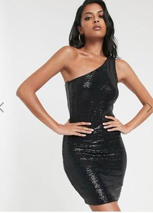 Шикарное чёрное вечернее платье в пайетках на одно плечо