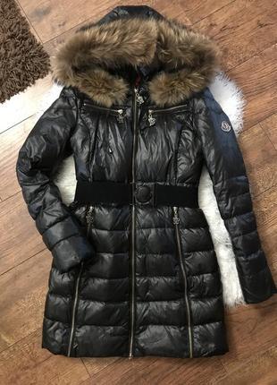 Пуховик куртка moncler мех енот