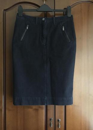 Джинсовая юбка миди тёмно синего цвета